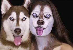 Cô gái 21 tuổi trang điểm để giống y như chú chó của mình