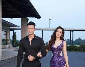 Hoa hậu Khánh Vân diện đầm tím quyến rũ, sánh đôi cùng siêu mẫu Vĩnh Thuỵ