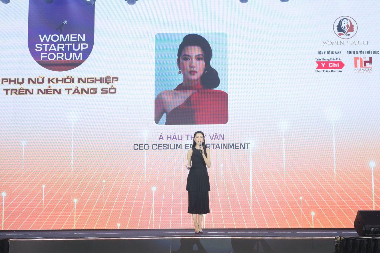 Á hậu Thúy Vân là diễn giả chia sẻ trong chương trình Diễn Đàn Phụ Nữ Khởi Nghiệp Trên Nền Tảng Số: Mở ra nhiều cơ hội cho phụ nữ Việt
