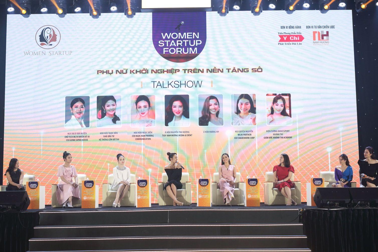 Các nữ diễn giả chia sẻ trong tọa đàm Phụ nữ khởi nghiệp trên nền tảng số Cơ hội và thách thức Diễn Đàn Phụ Nữ Khởi Nghiệp Trên Nền Tảng Số: Mở ra nhiều cơ hội cho phụ nữ Việt