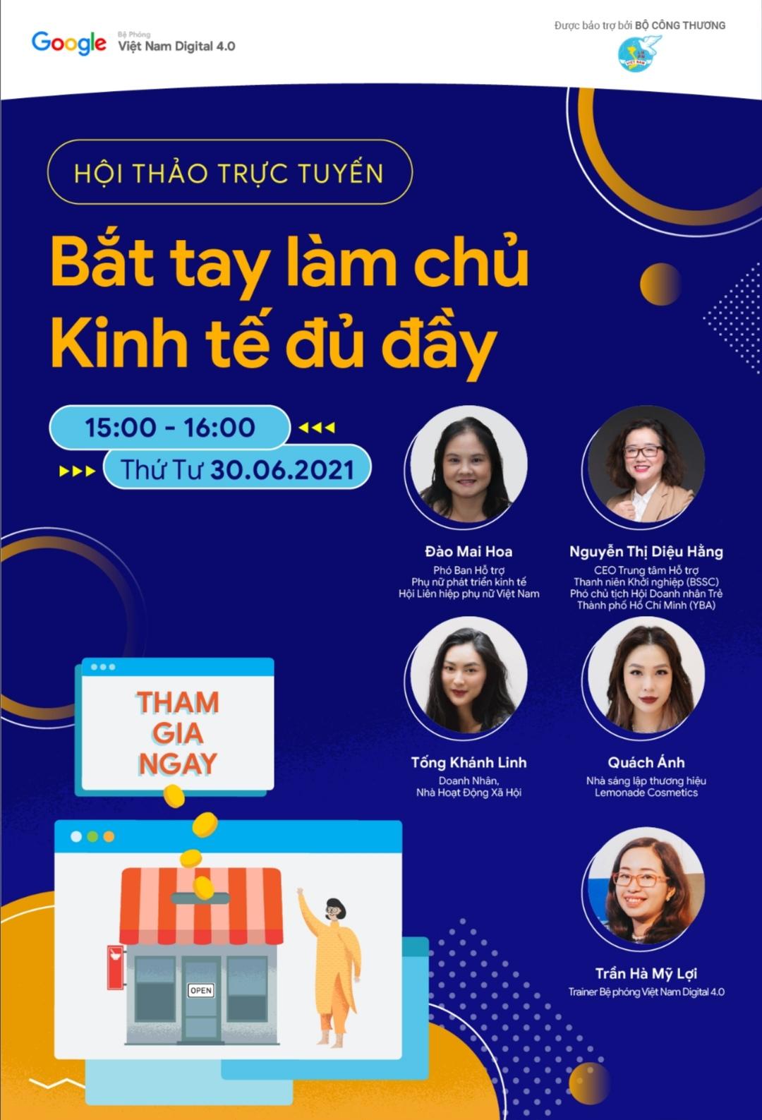 Screenshot 20210629 185120 Hội thảo trực tuyến cho phụ nữ Việt: Bắt tay làm chủ   Kinh tế đủ đầy
