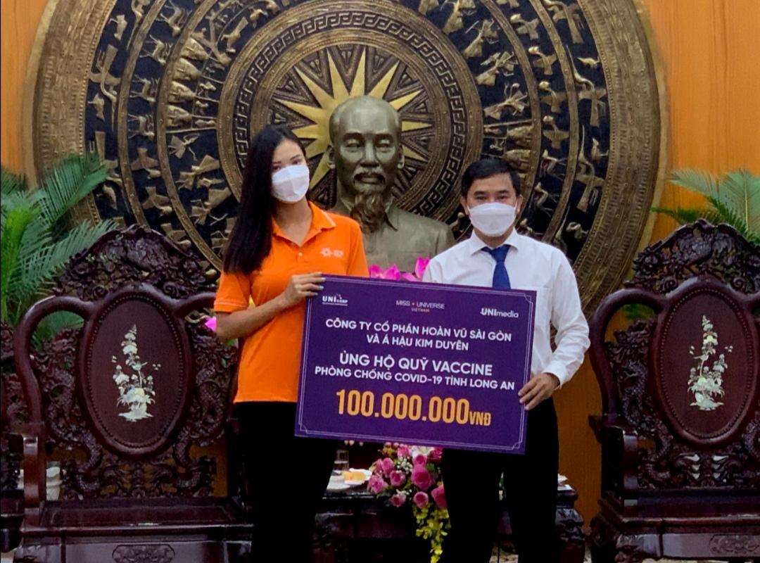 Screenshot 20210709 180810 Á hậu Kim Duyên và tổ chức Hoa hậu Hoàn vũ Việt Nam ủng hộ 100 triệu đồng cho quỹ vaccine tỉnh Long An