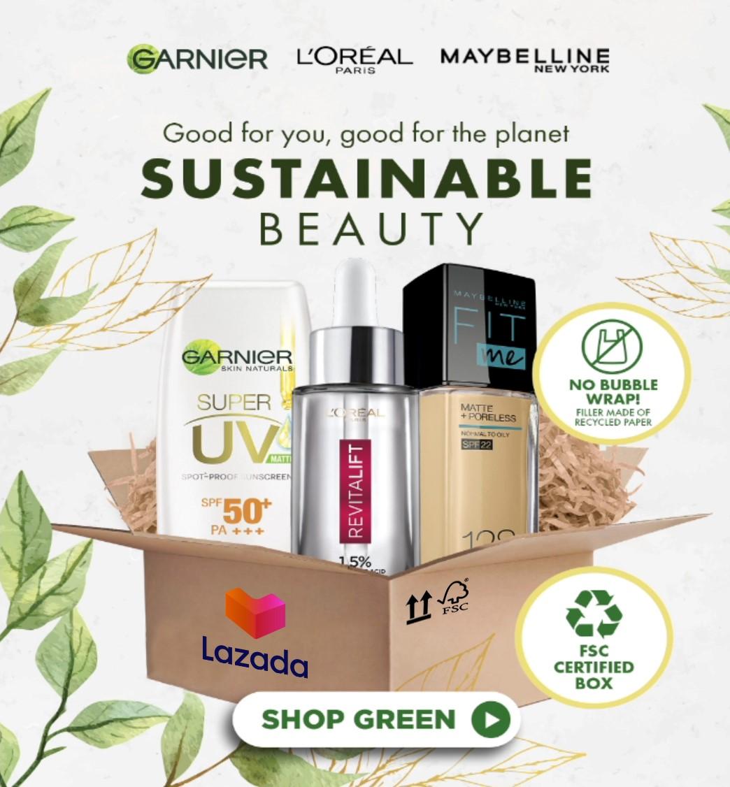 Loreal x LZD Green Parcel L'Oréal hợp tác cùng Lazada trong chương trình đẹp bền vững trên sàn thương mại điện tử Đông Nam Á
